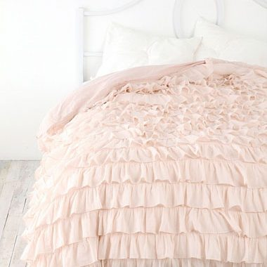 housse couette volants rose