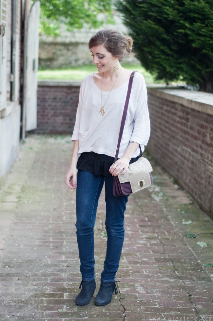 Look jean et pull beige - L'Alexiane fashion blog