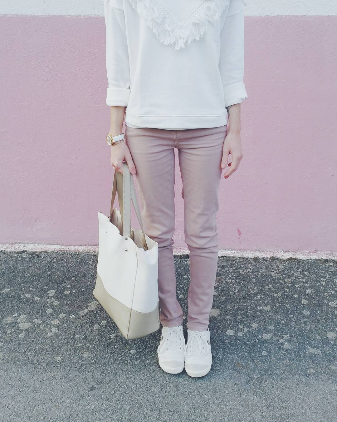Pantalon rose sweat blanc