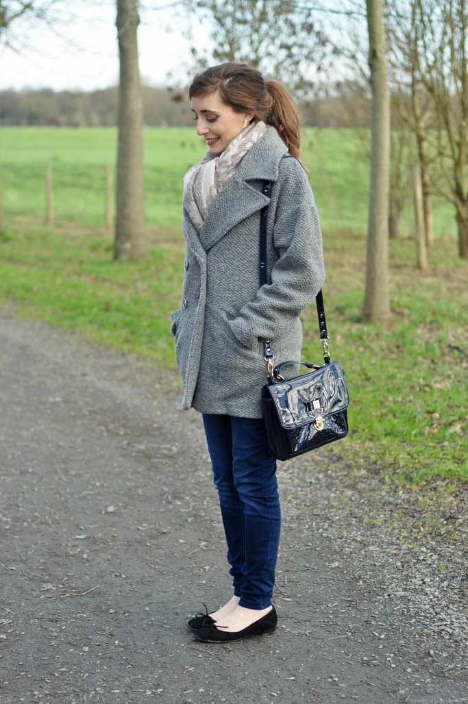Look manteau gris