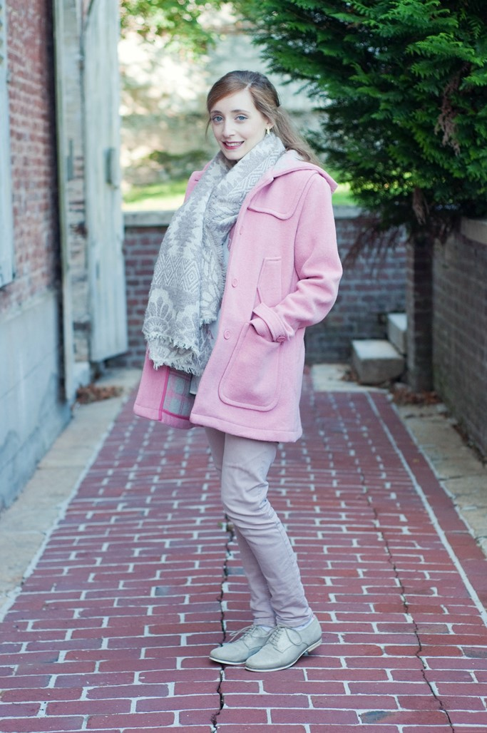 Look blog mode manteau rose 1P10S Somewhere