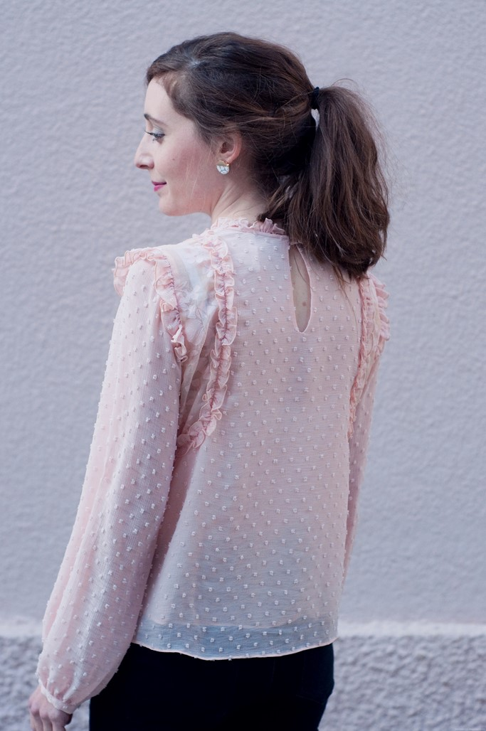 Look blouse plumeti rose blog mode