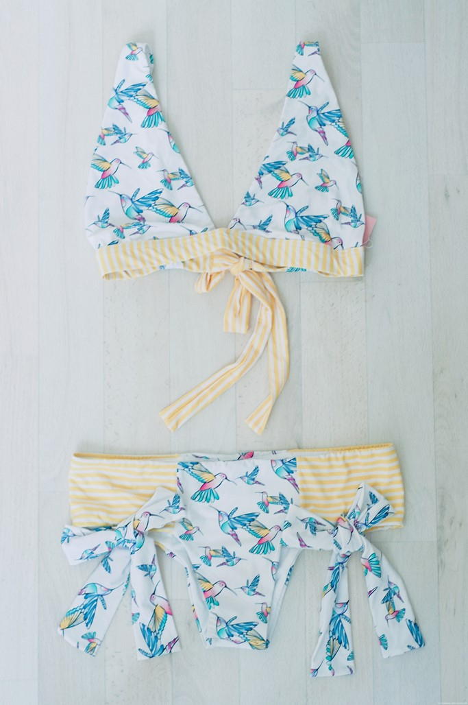 Maillot de bain jaune imprime oiseaux box My Private Closet