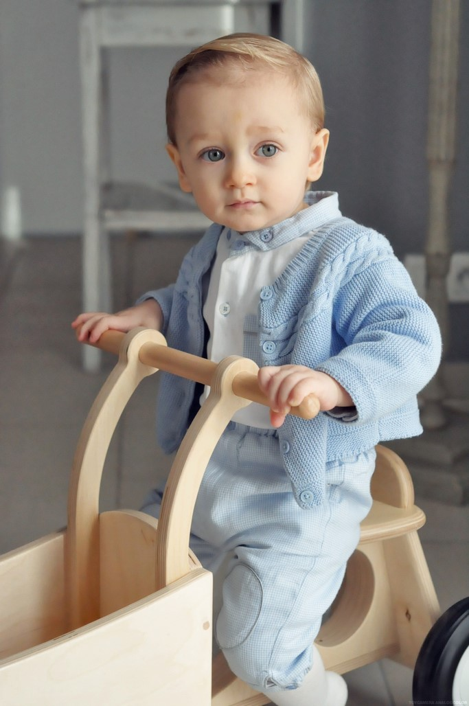 Look bebe garcon chateau de sable ensemble bleu bloomer gilet body blog maman Alexiane