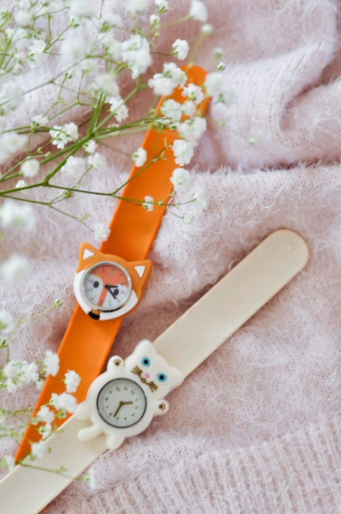 Montre enfant chat blanc renard orange FUNNY TIME PYLONES blog Maman Alexiane