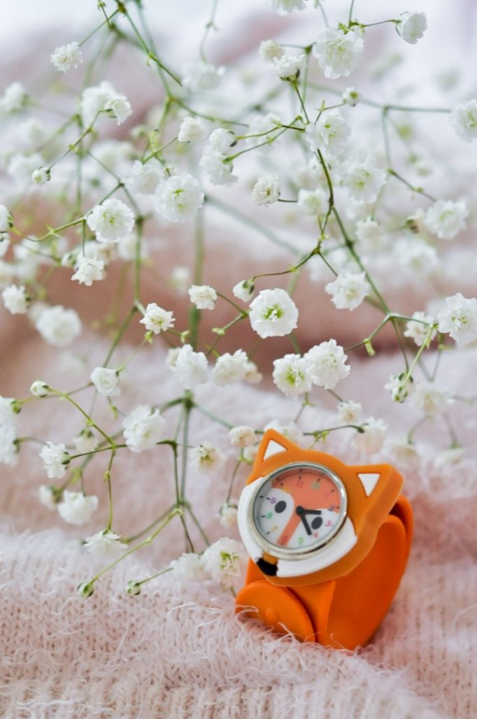 Montre enfant renard orange FUNNY TIME PYLONES blog Maman Alexiane