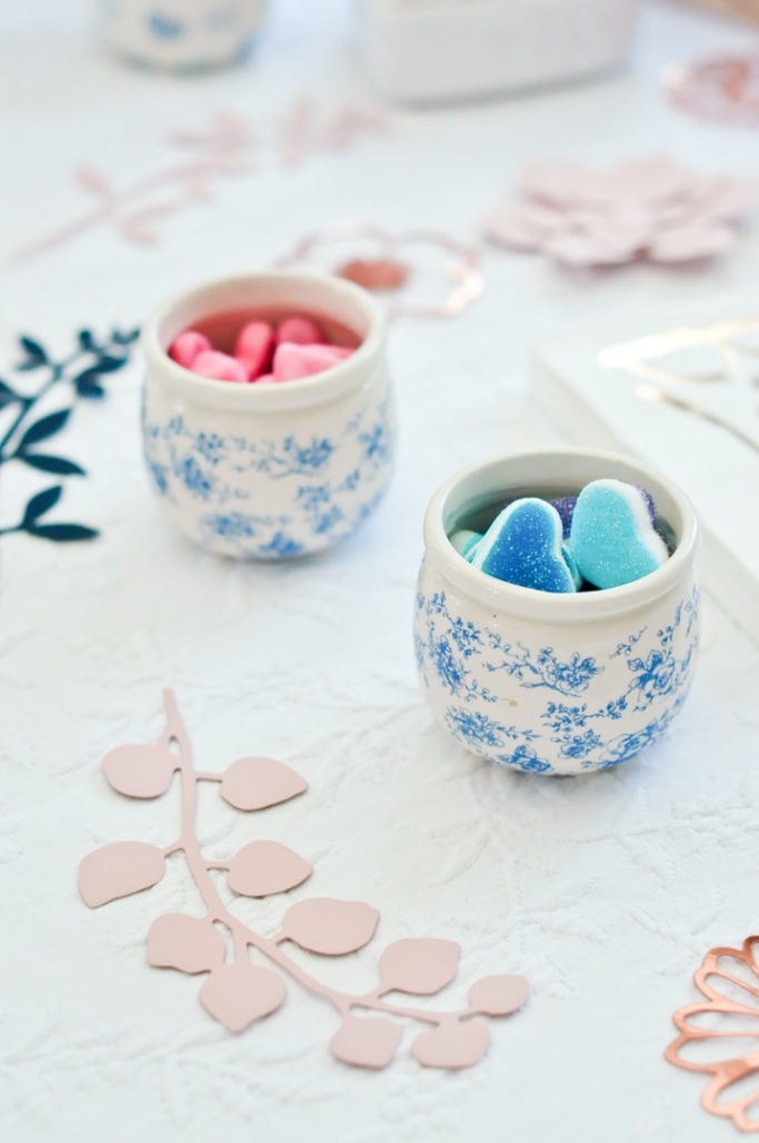 Bonbons roses et bleus gender reveal party baby shower
