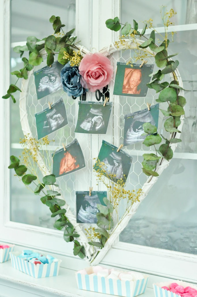 Coeur photo DIY echographie bébé baby shower gender reveal party eucalyptus fleurs
