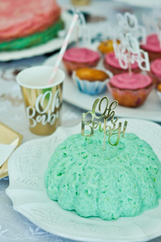 Riz au lait bleu vert gender reveal party baby shower OH BABY