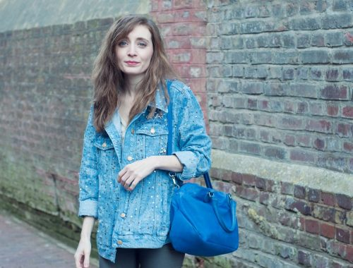 Look veste en jean sequins Zara blog mode Alexiane